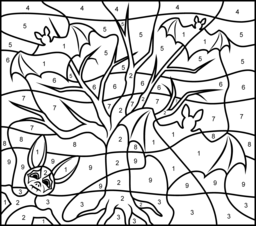 Bats - Online Color by Number Page - Hard   Print file   Pinterest ...