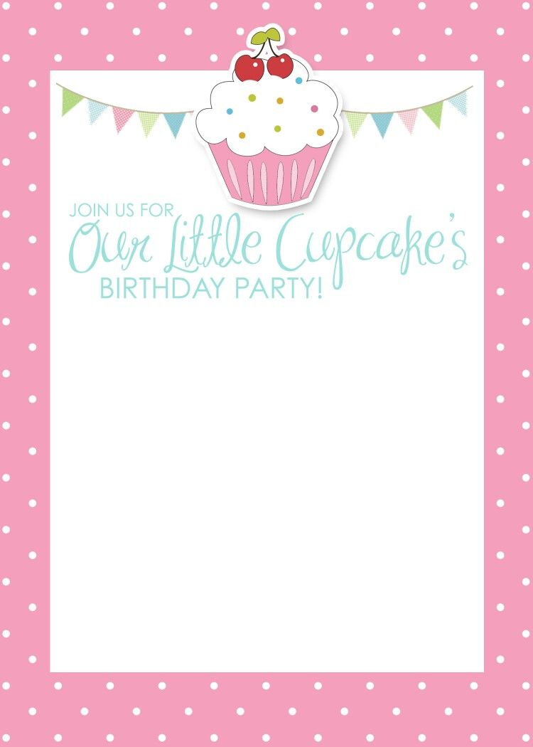 Pin by leonela sorroza on invitaciones pinterest create free printable cupcake themed blank birthday party invitation template with white pink polkadots border filmwisefo Gallery