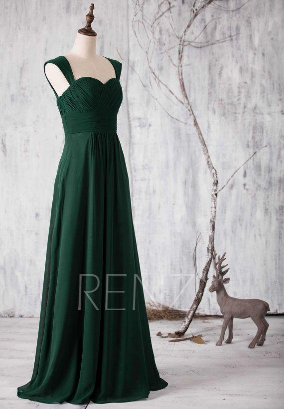 Prom Dress Emerald Chiffon Bridesmaid Dress Wedding Dress Etsy In 2020 Dark Green Bridesmaid Dress Long Green Bridesmaid Dresses Green Bridesmaid Dresses