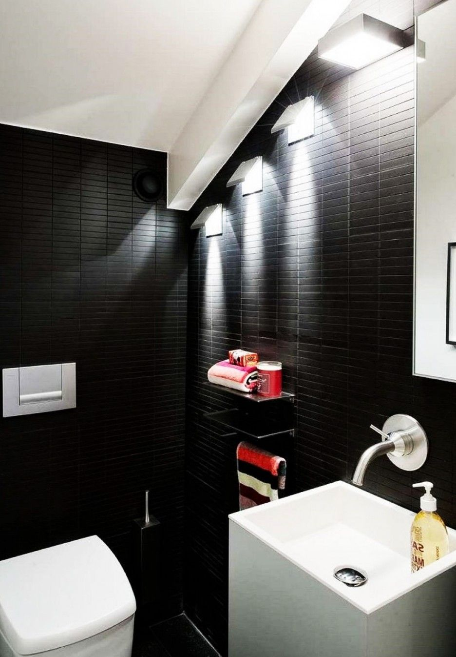 bathroom remarkable bathroom lighting ideas. Bathroom, Remarkable Dramatic Bathroom Wall Lighting Design With Black Color Interior: Ideas Z