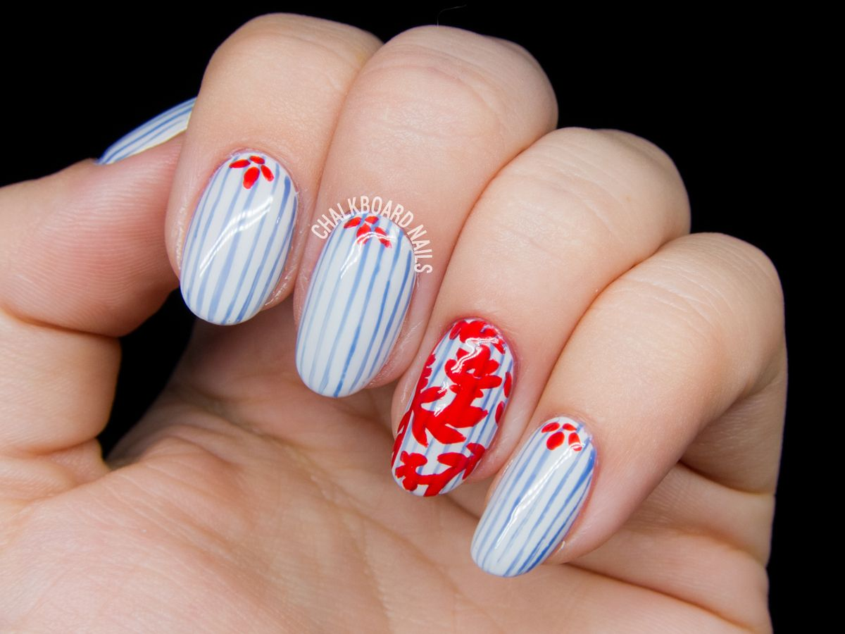 Pinstripe And Damask Nail Art Inspired By Tory Burch Beauty Book