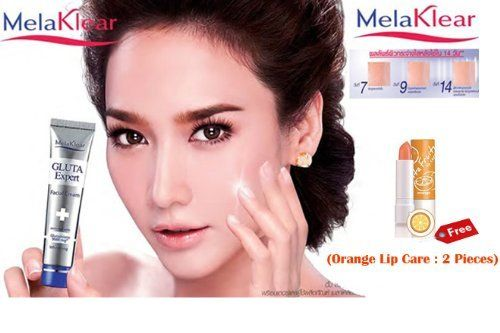 Beauty Set  Melaklear Glutathione Expert 9000 Mg SPF 15 Whitening Facial Day Cream 15 G Pack of 2 Free Orange Lip Care  2 Piece Get Free Facial Hair Epicare Spring A1 Removerset14720 *** To view further for this item, visit the image link.