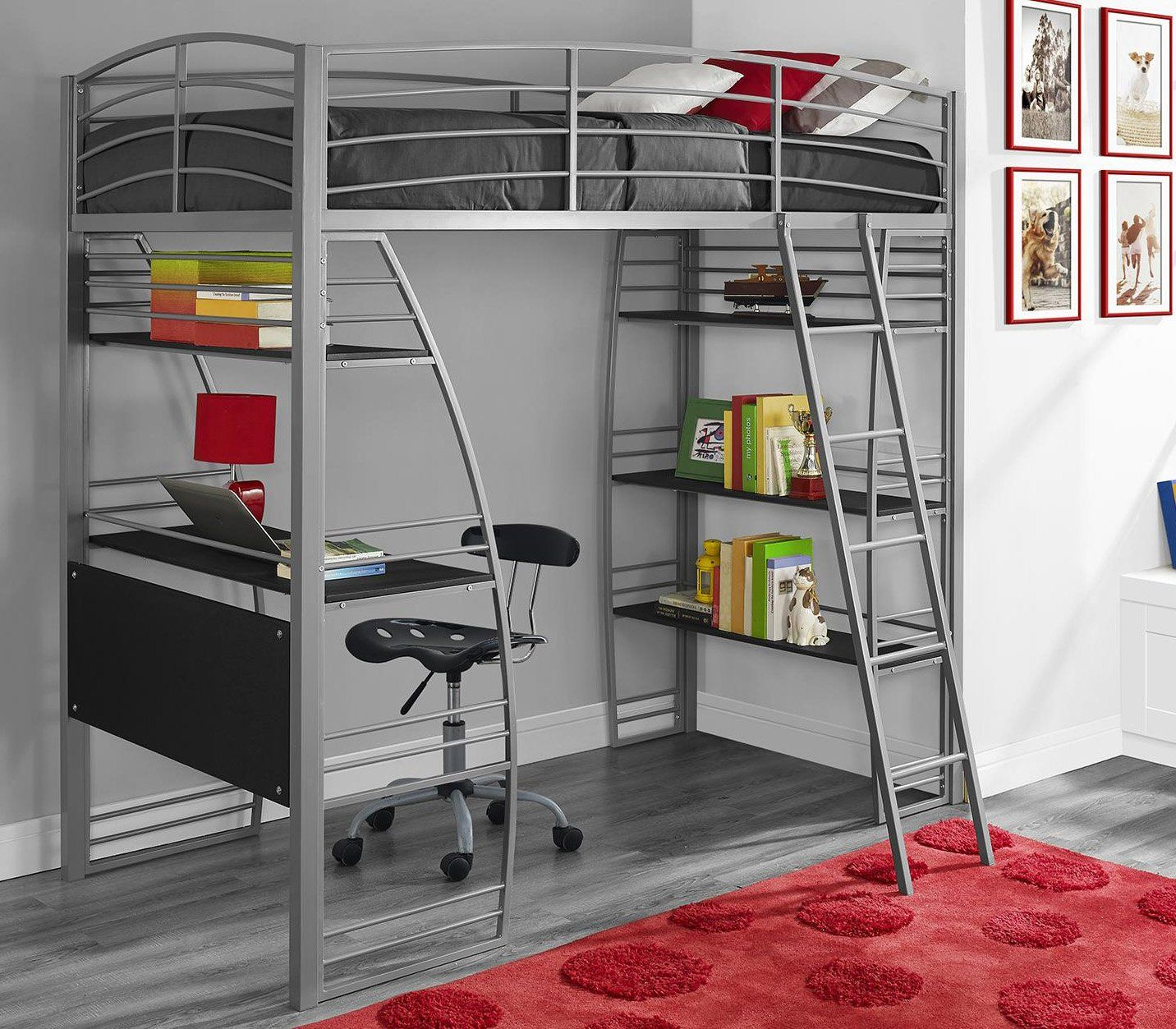 amazon: dhp studio loft bunk bed over desk and bookcase with