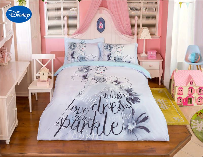 Grey Color Disney Princess Cartoon Printed Bedding Set For Girl S Bedroom Decor Cotton Bed Duvet Cover Single Twin Duvet Bedding Bedding Set Girls Bedding Sets