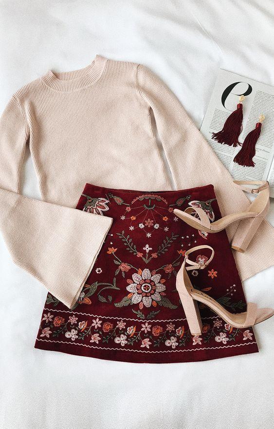 Mountain High Burgundy Embroidered Corduroy Mini Skirt – Lilah G. – #Burgundy #C… – Fashion