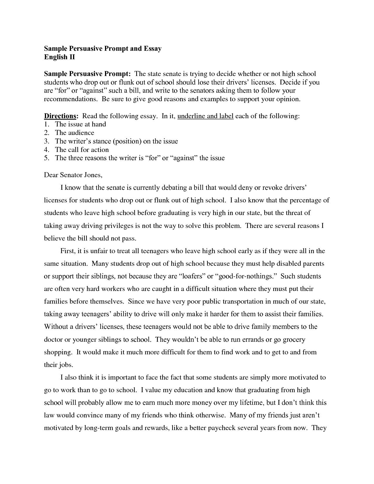 Research Paper Essay Example  Teaching Essay Writing High School also Proposal For An Essay Samples Of Persuasive Essays For High School Students  Argumentative Essay Thesis Statement Examples