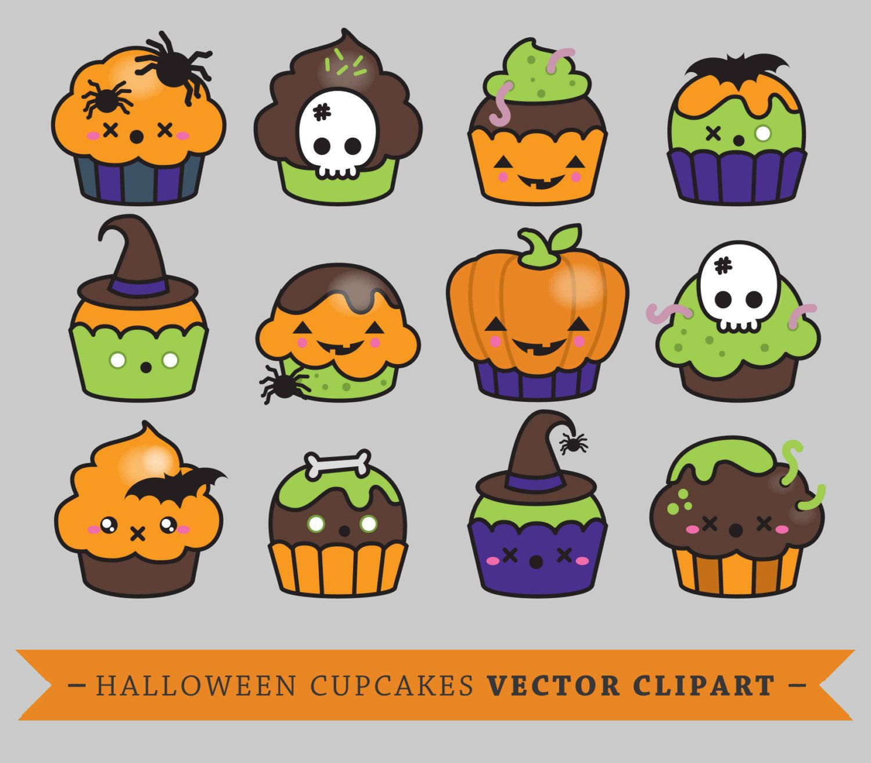Premium Vector Clipart - Kawaii Halloween Cup Cakes - Cute ...