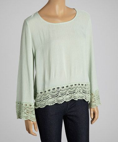 Another great find on #zulily! Mint Lace Top by Dani Collection #zulilyfinds