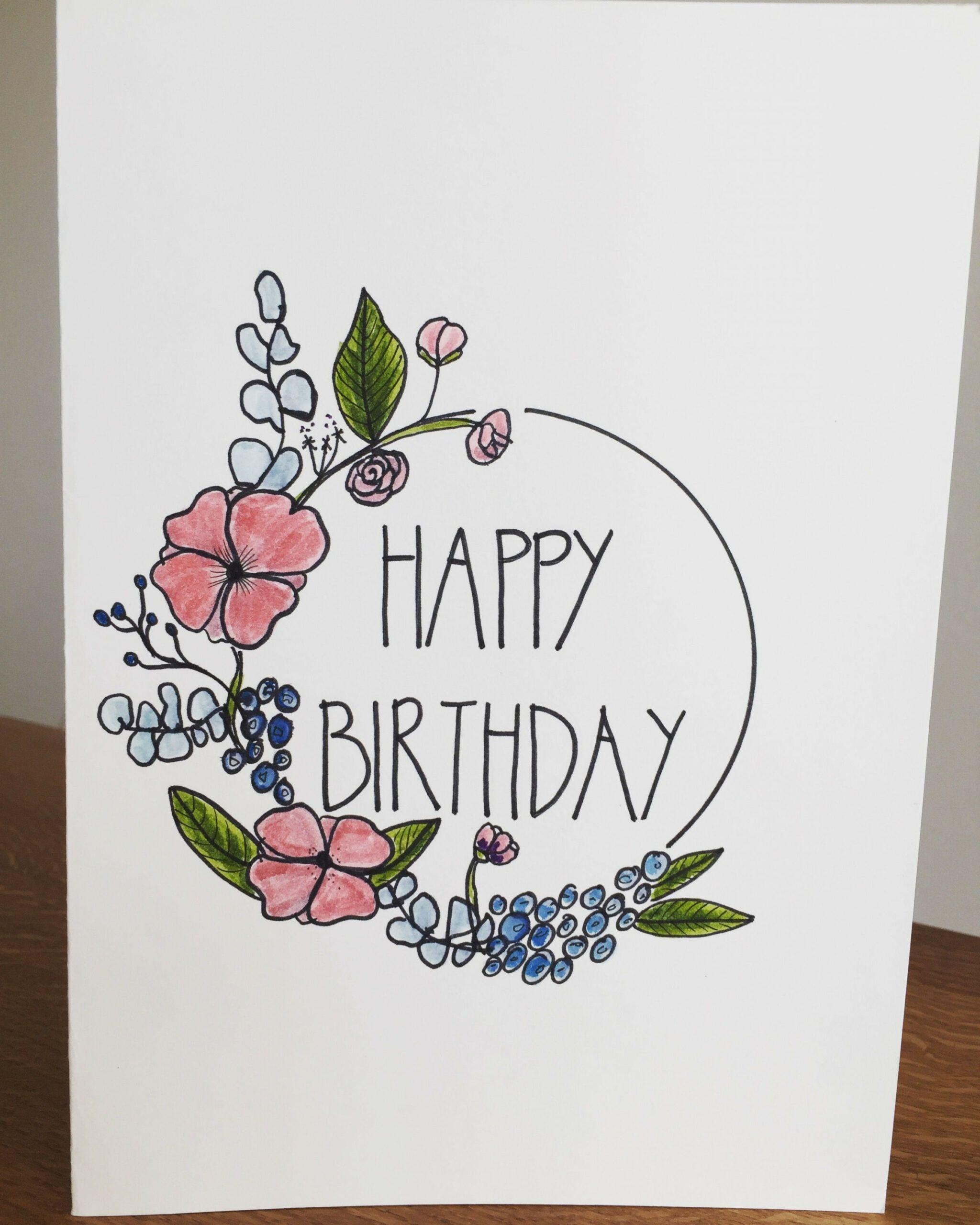 Card Flower Drawing Birthday Card Drawing Happy Birthday Drawings Happy Birthday Cards Diy