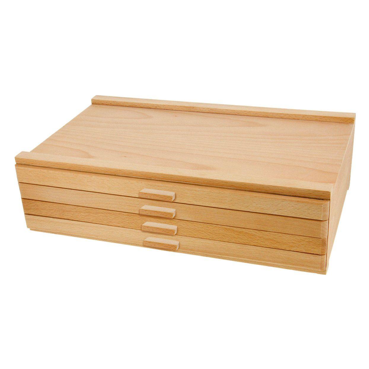 4 Drawer Artist Wood Pastel Pen Marker Storage Box