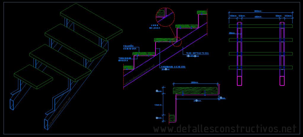 Escalera met lica con pelda os de madera for Plano escalera madera