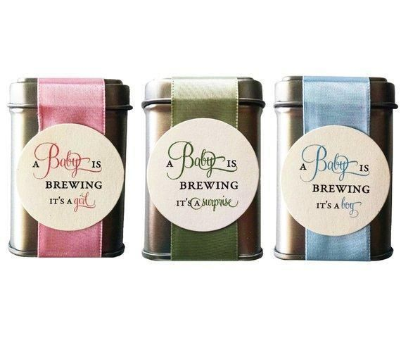 Photo of A Baby is Brewing Tea Tin Baby Shower Favors – unassembled with tea