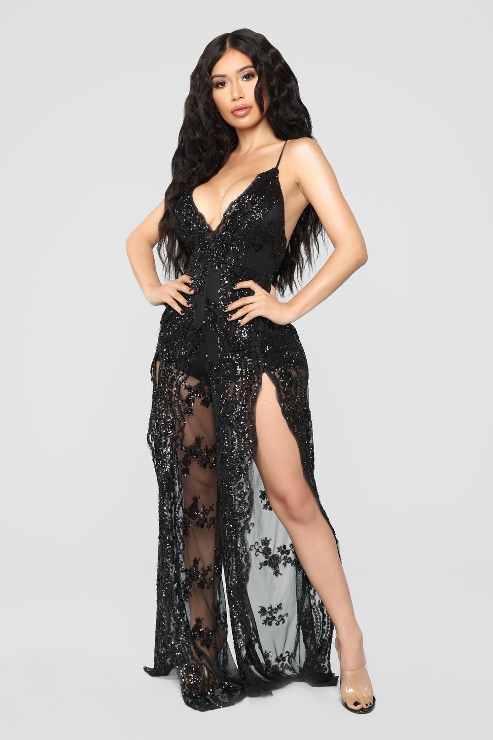 48f07e51d0631 Hidden Hills Sequin Lace Jumpsuit - Black in 2019   Fashion and ...