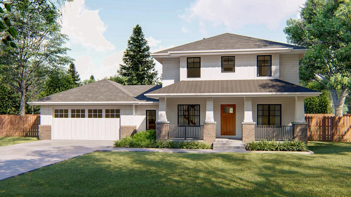 Plan 62743dj Modern Prairie Style House Plan With Covered Front Porch Prairie Style Houses Prairie Style Two Story House Design