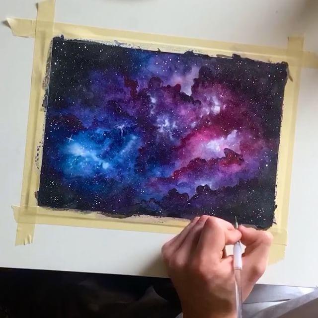 Blaineholmess Galaxie Aquarell Bunte Zeichnungen Galaxie