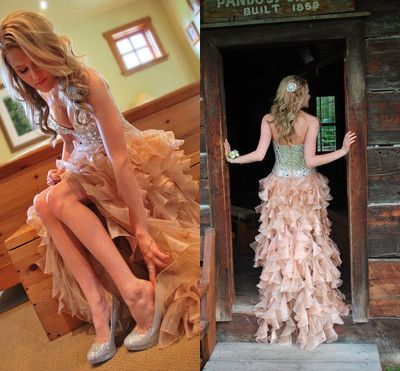 new short front long back prom dress with rhinestone