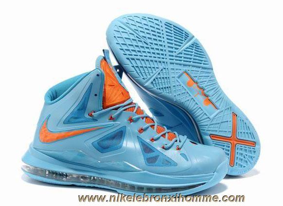 hot sale online b1bcd a64db Nike Lebron X (10) 541100 400 Bleu Orange Style En Ligne