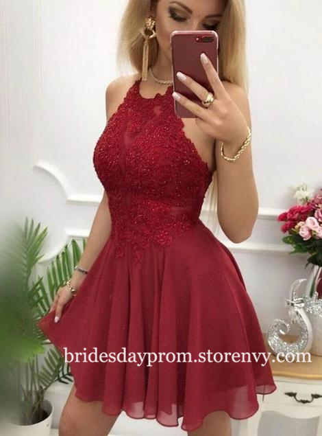 Burgundy Lace Applique Homecoming dresses with Bac