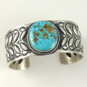 Kingman Turquoise Cuff by Herman Smith - Garlands Indian Jewelry