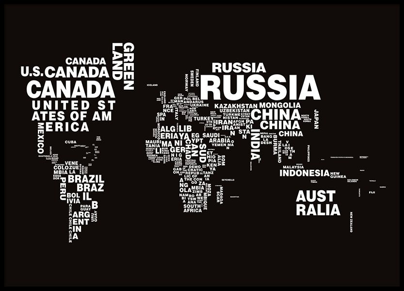 Entries with black and white typographic world map formed of names