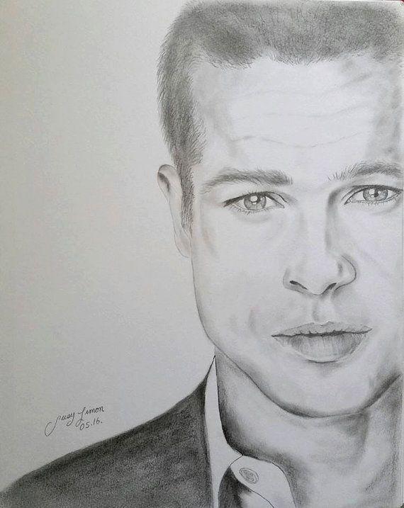 Brad Pitt Original Lapiz Dibujo Retrato De Arte Por Limonartstudio Retratos Dibujos Retratos Brad Pitt