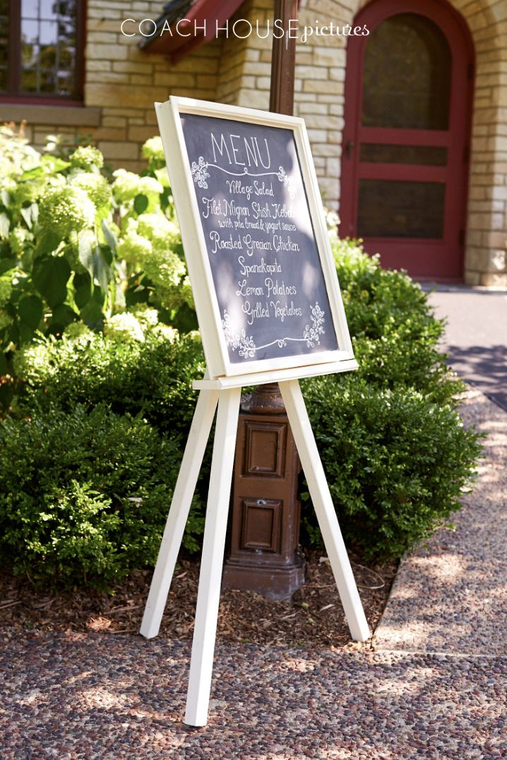 Custom Buffet Menu Chalkboard with easel. Made using up-cycled wood for the easel and a vintage window. Handmade by: CoachHouseCraft on Etsy