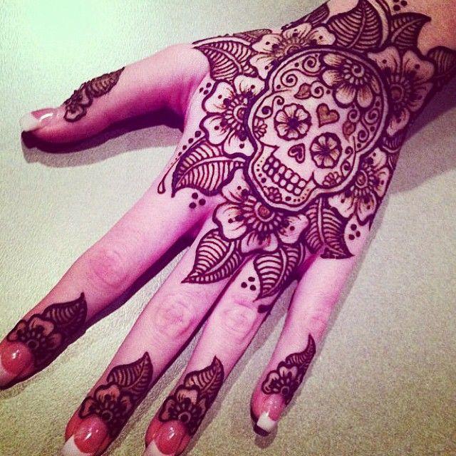 Skull Henna Tattoo: Sugar Skull Henna Design #mehndikajoeyhenna