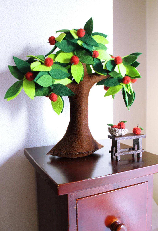 Apple tree Felt Tree Fiber Art Soft sculpture Room