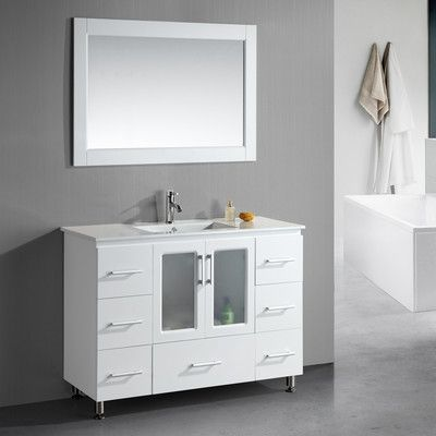 "Dcor Design 48"" Single Modern Bathroom Vanity Set With Mirror Amusing Bathroom Cabinet Reviews Design Ideas"