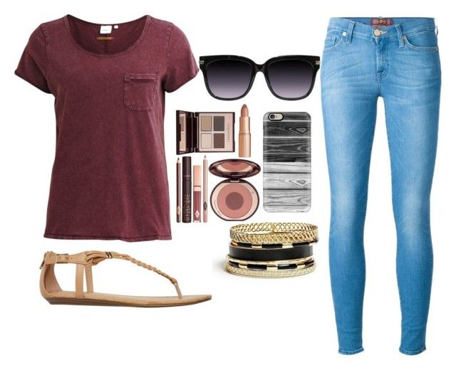 """""""Untitled #161"""" by harmonizer4ever on Polyvore featuring 7 For All Mankind, Object Collectors Item, Report, Charlotte Tilbury, Casetify and GUESS"""