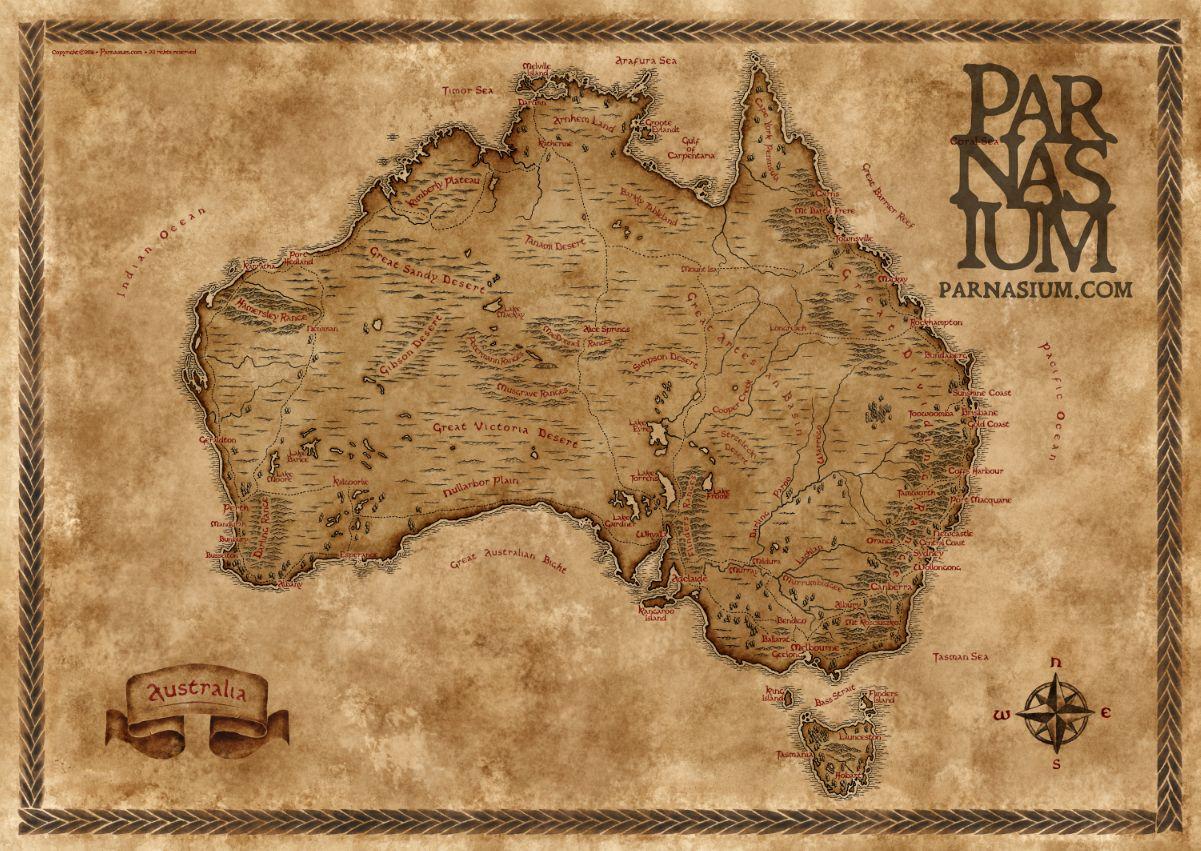 Louisiana Map Alexandria%0A Fantasy styled map of Australia by Parnasium  map  australia