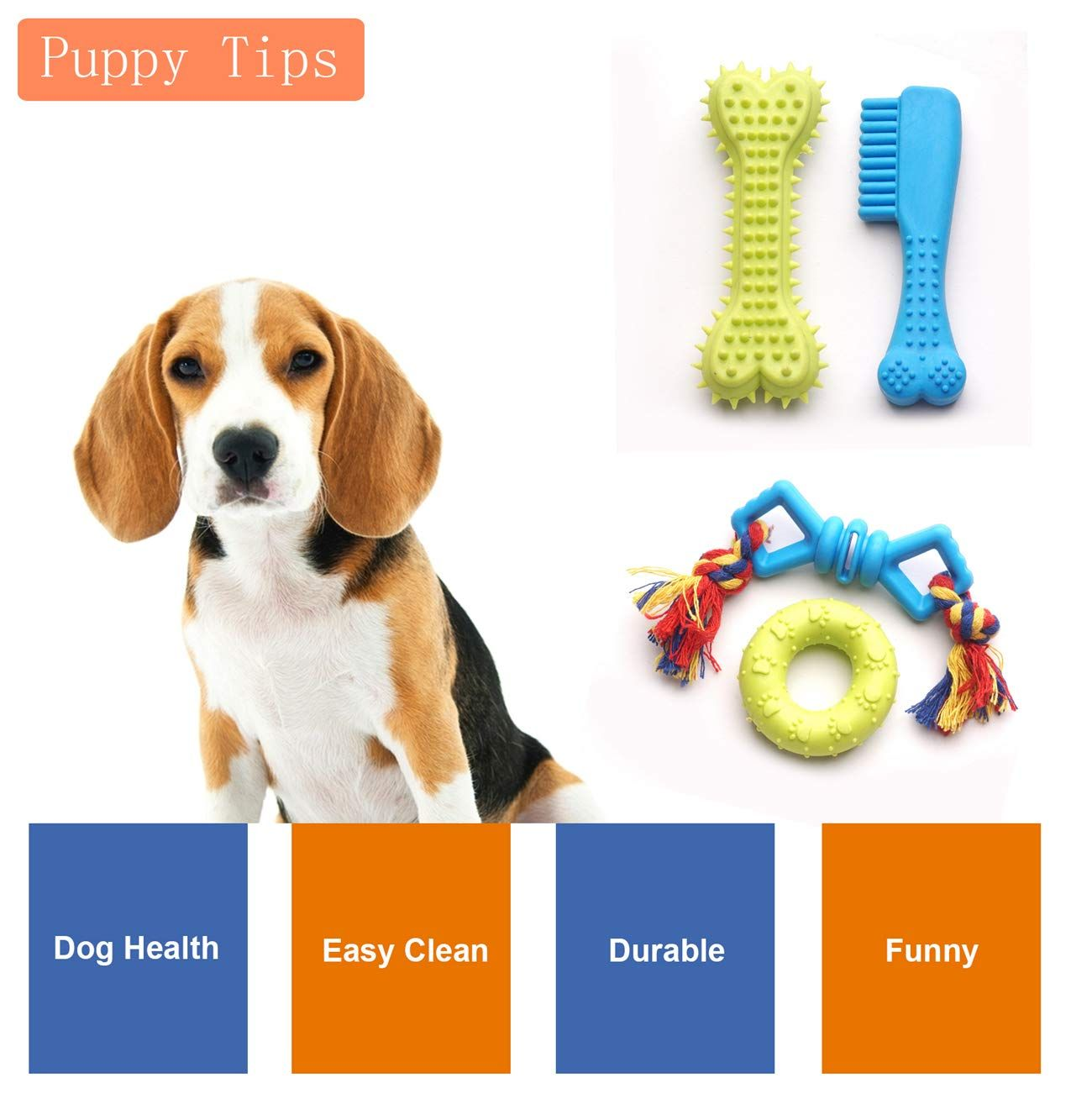 Yunkingdom 20 Pack Rubber Ball Tug Squeaky Teething Dog Toys