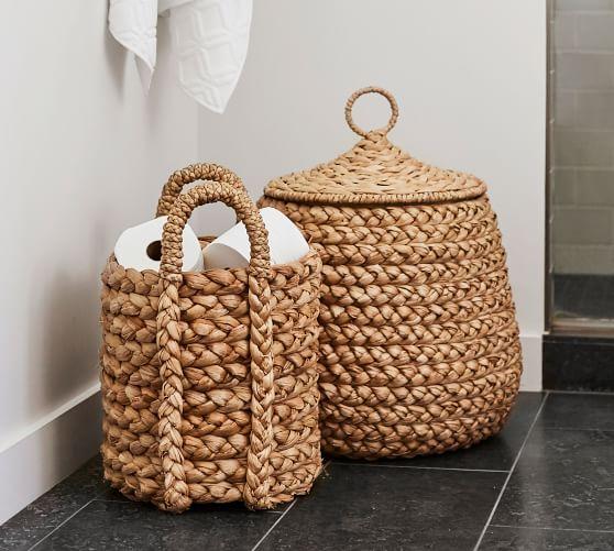 Beachcomber Lidded Tulip Basket In 2020 Cane Baskets Basket Towel Basket
