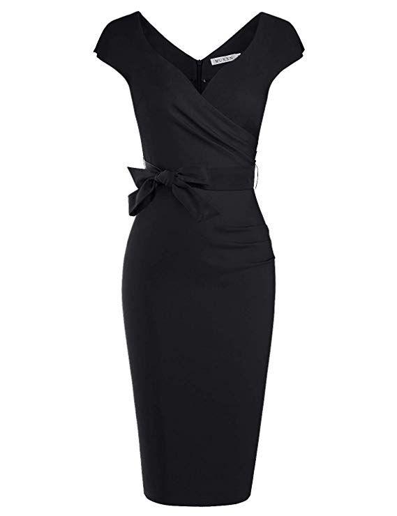 3f6790a1a95 MUXXN Womens Little Black Sweetheart Collar Ruched Slim Business Dress  (Black S)