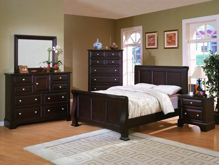 dark bedroom furniture with light colored walls