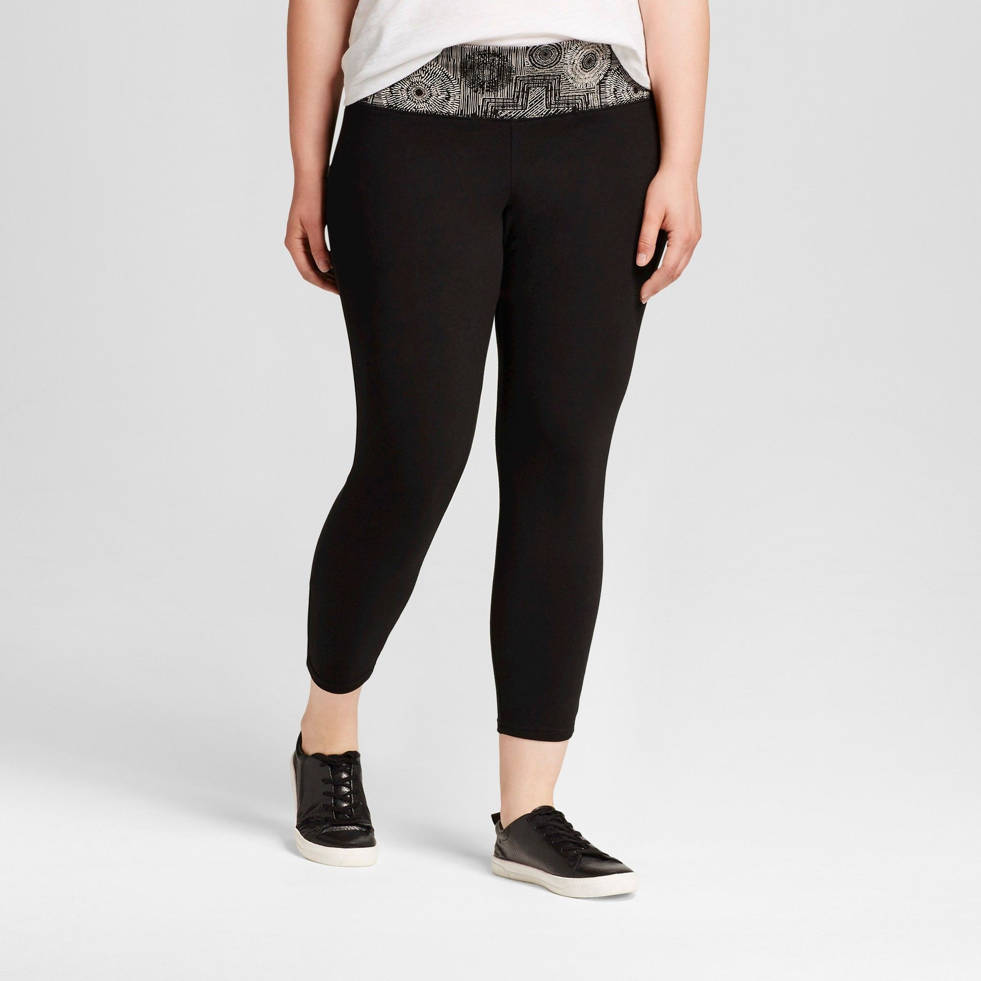 21acba063b Women's Plus Size Yoga Capri Leggings with Printed Waistband Black/White  Print 4X - Mossimo Supply Co.