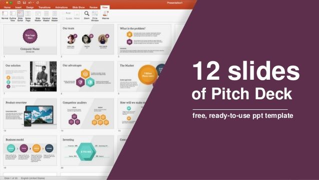 12 slides of Pitch Deck - free, ready-to-use ppt template #pitchdeck - product pitch template
