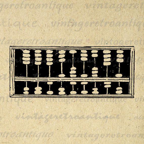 Abacus Antique Math Calculator Printable Graphic Image School   Etsy ...