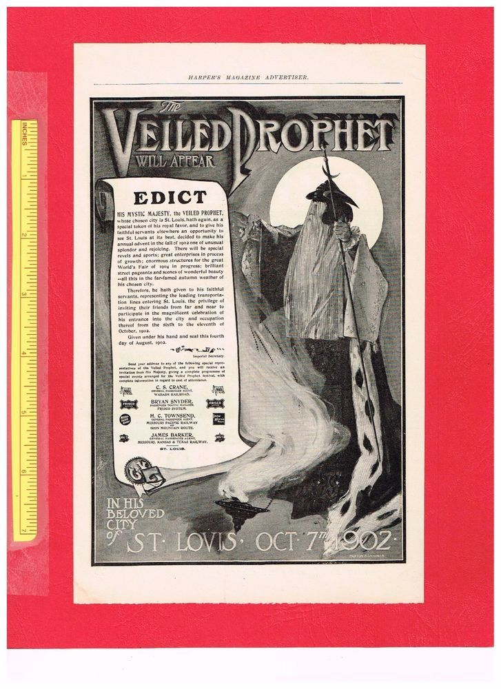 Vintage 1902 THE VEILED PROPHET SECRET SOCIETY, ST LOUIS Full Page Advertisement #TheVeiledProphetSecretSociety