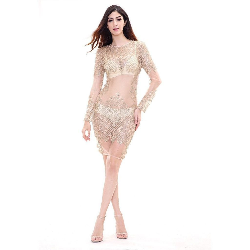 Gold see thru dress gold and products