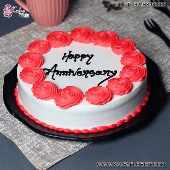 Sensational Swirly Anniversary Love Happy Anniversary Cake In 2020 Happy Personalised Birthday Cards Veneteletsinfo