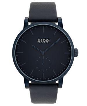 neuesten Stil von 2019 Infos für neueste auswahl BOSS Hugo Men Essence Blue Leather Strap Watch 42mm | Products ...