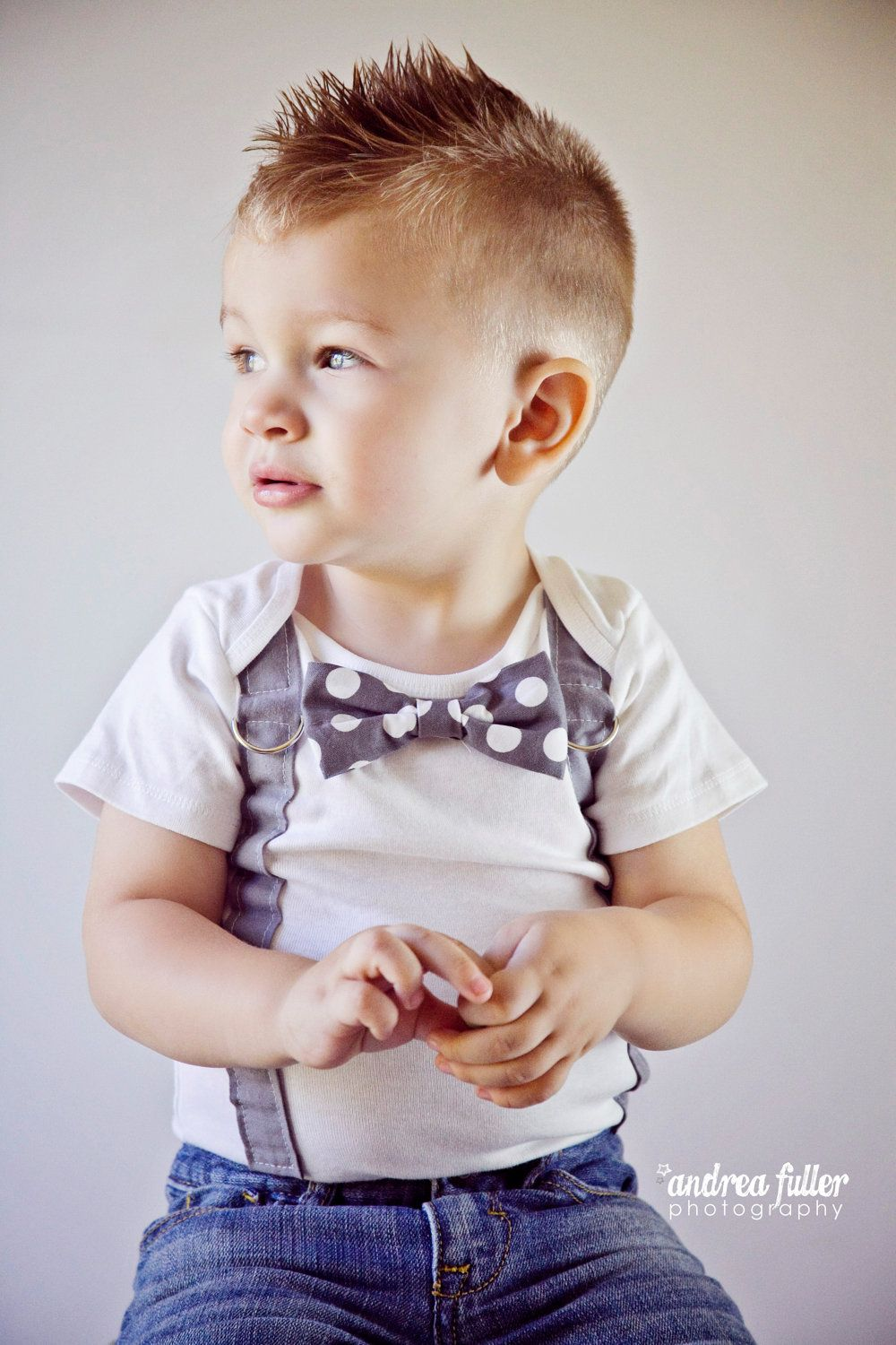 Baby Boy Bowtie Suspender Bodysuit Or Shirt Grey And White Polka