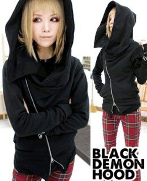pants black punk black demon black demon hoodie hoodie black hoodie korean fashion korean punk fashion bloodycat skinny pants red emo