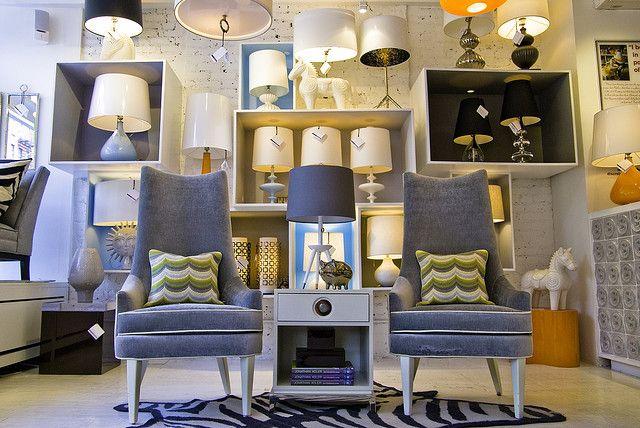 #jonathanadler, gray chairs with white piping