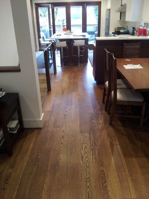 Flat Grain White Oak Stained Antique Brown Contemporary