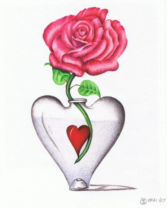 Login To Read Flower Drawing Heart Drawing Greeting Card Art
