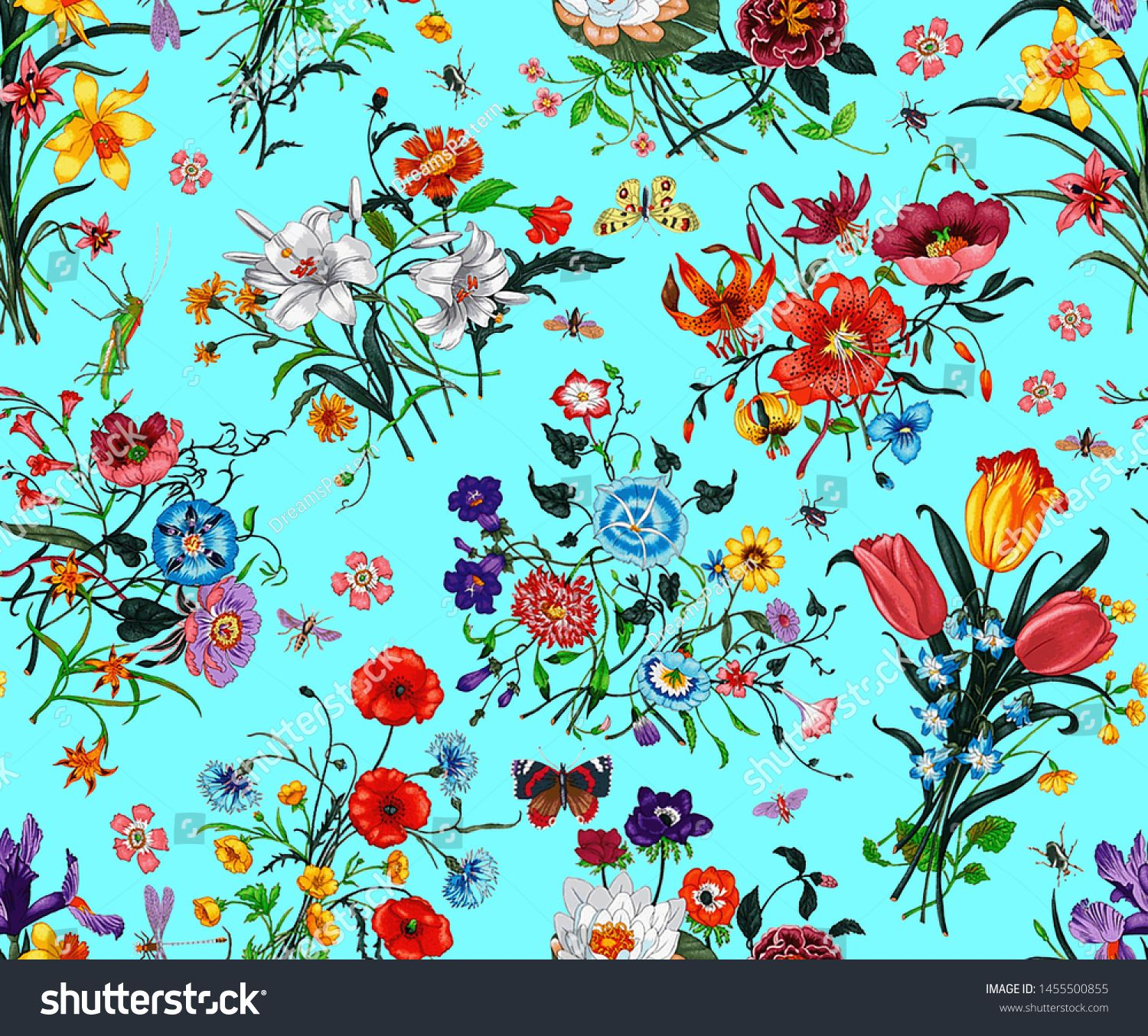Seamless Floral Pattern With Bright Colorful Flowers With Leaves
