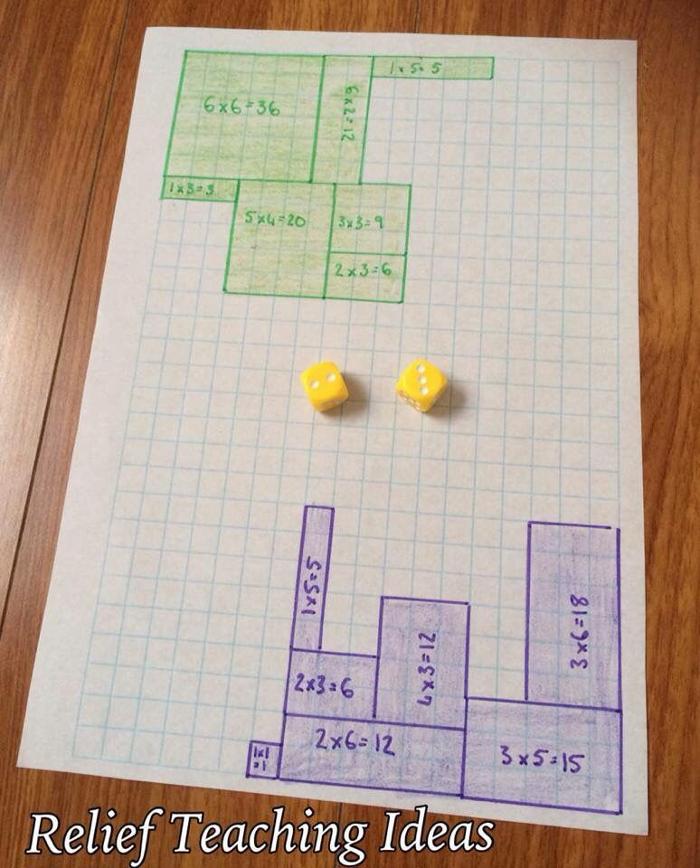 Area dice game Relief teaching ideas, Math projects