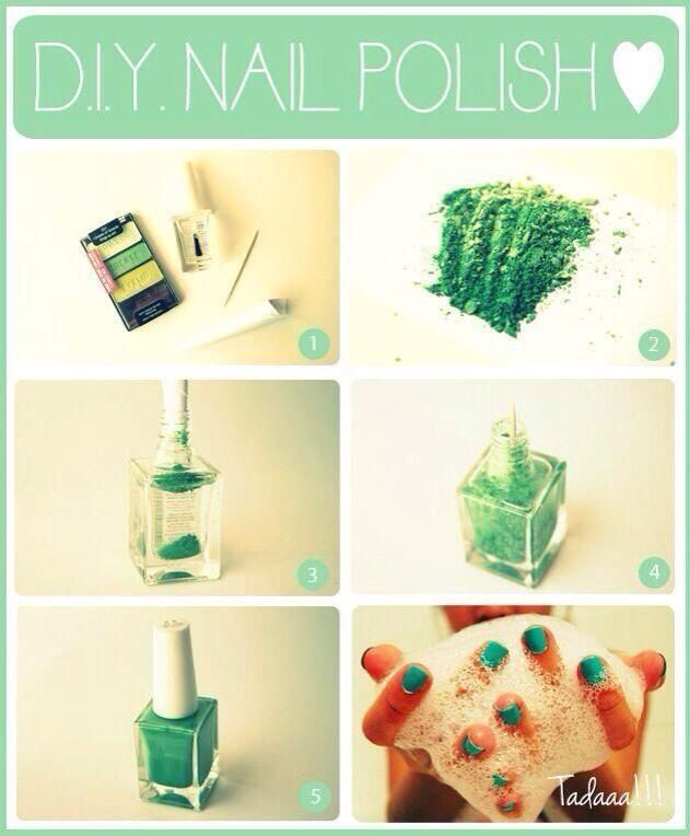 Make ur own nail polish!! Put ur old or leftover eyeshadow into the ...